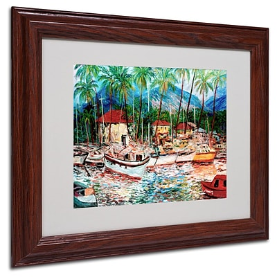 Trademark Fine Art Lahaina Boats  11 x 14 Wood Frame Art