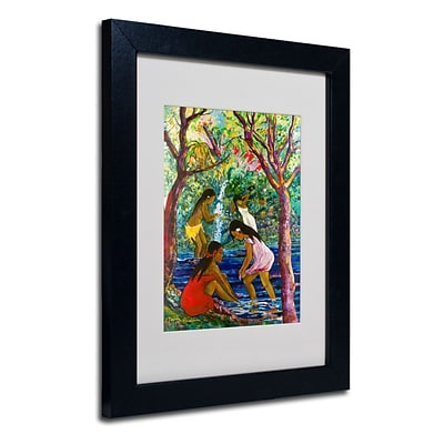 Trademark Fine Art Four Girls In Maui  11 x 14 Black Frame Art