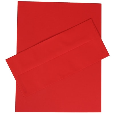 JAM Paper® Business Stationery Set, 100 Sheets of Paper and 100 #10 Envelopes, Brite Hue Red Recycled, set of 100 (303024415)