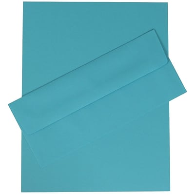 JAM Paper® Business Stationery Set, 100 Sheets of Paper and 100 #10 Envelopes, Brite Hue Blue Recycled, set of 100 (303024416)