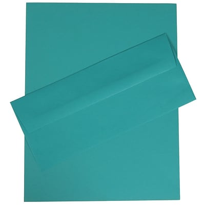 JAM Paper® #10 Business Stationery Set, 4.125 x 9.5, Sea Blue Recycled, 100/Pack (303024419)