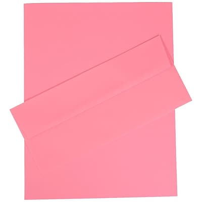 JAM Paper® Business Stationery Set, 100 Sheets of Paper and 100 #10 Envelopes, Brite Hue Ultra Pink, set of 100 (303024422)