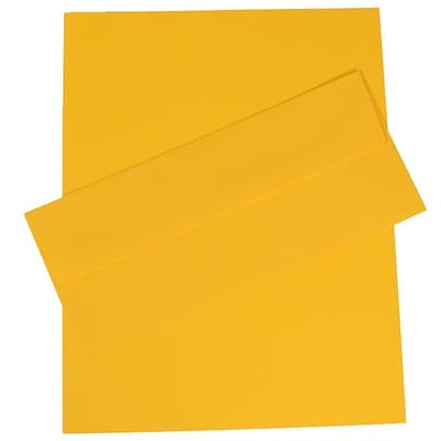 JAM Paper® Business Stationery Set, 100 Sheets of Paper and 100 #10 Envelopes, Brite Hue Yellow Recycled, set of 100 (303024424)