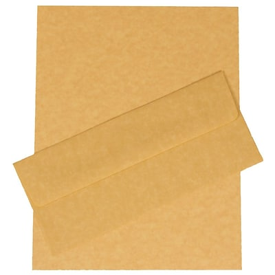 JAM Paper® #10 Business Stationery Set, 4.125 x 9.5, Parchment Antique Gold Recycled, 100/Pack (303024425)