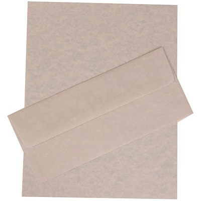 JAM Paper® #10 Business Stationery Set, 4.125 x 9.5, Parchment Blue Recycled, 100/Pack (303024426)