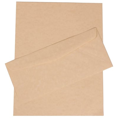 JAM Paper® #10 Business Stationery Set, 4.125 x 9.5, Parchment Natural Recycled, 100/Pack (303024429)
