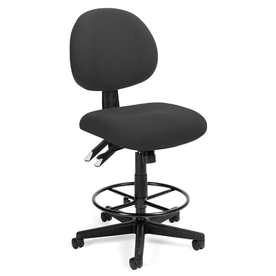 OFM™ Fabric 24-Hour Computer Task Stool, Charcoal