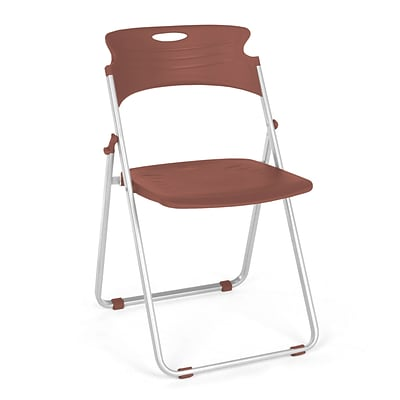 OFM™ Flexure Plastic Folding Chair, Chocolate, 4/Pack
