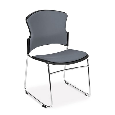 OFM™ Fabric Armless Multi-Use Stack Chair, Gray, 4/Pack
