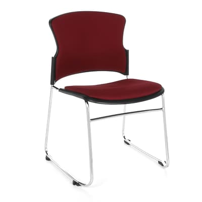OFM™ Fabric Armless Multi-Use Stack Chair, Wine, 4/Pack
