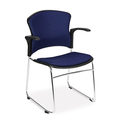 OFM™ Fabric Multi-Use Stack Chair With Arms, Navy, 4/Pack