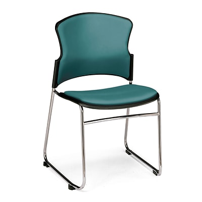 OFM™ Anti-Microbial/Anti-Bacterial Vinyl Multi-Use Stack Chair, Teal, 4/Pack