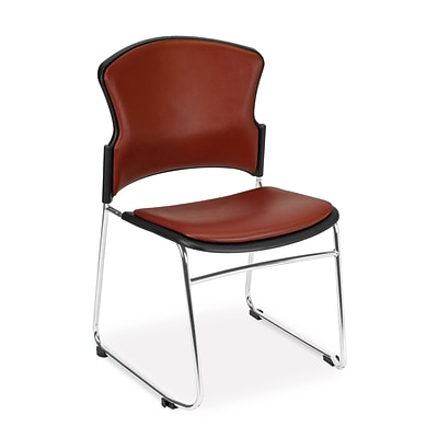 OFM™ Anti-Microbial/Anti-Bacterial Vinyl Multi-Use Stack Chair, Wine, 4/Pack