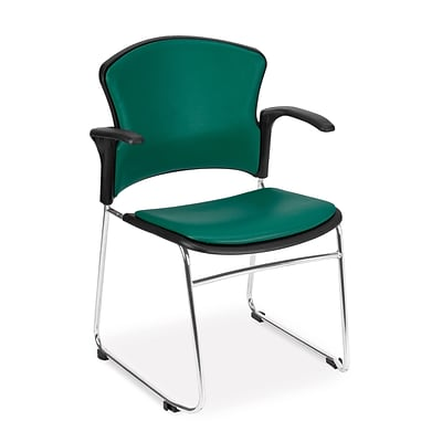 OFM™ Anti-Microbial/Anti-Bacterial Vinyl Multi-Use Stack Chair With Arms, Teal, 4/Pack
