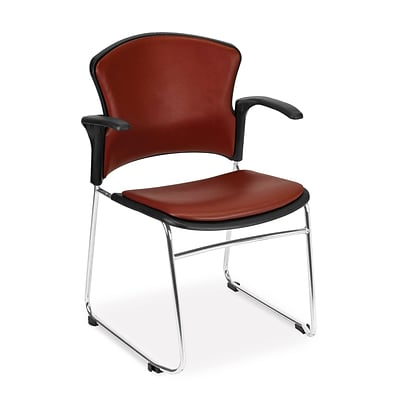 OFM™ Anti-Microbial/Anti-Bacterial Vinyl Multi-Use Stack Chair With Arms, Wine, 4/Pack
