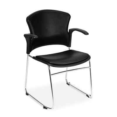 OFM™ Anti-Microbial/Anti-Bacterial Vinyl Multi-Use Stack Chair With Arms, Black, 4/Pack