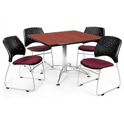 OFM™ 42 Square Multi-Purpose Cherry Table With 4 Chairs, Burgundy