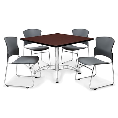 OFM™ 36 Square Multi-Purpose Mahogany Table With 4 Chairs, Gray