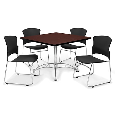 OFM™ 42 Square Multi-Purpose Mahogany Table With 4 Chairs, Black