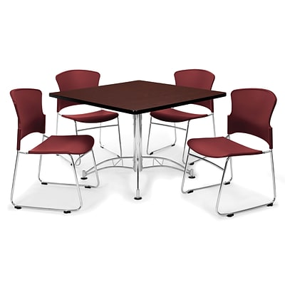 OFM™ 36 Square Multi-Purpose Mahogany Table With 4 Chairs, Wine