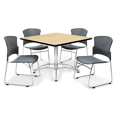 OFM™ 42 Square Multi-Purpose Laminate Table With 4 Chairs, Gray