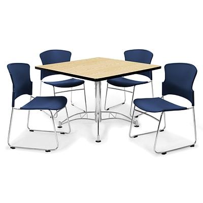 OFM™ 42 Square Multi-Purpose Laminate Table With 4 Chairs, Navy