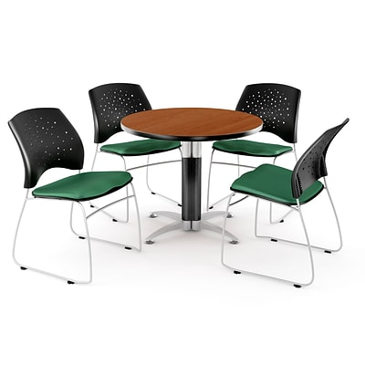OFM™ 36 Round Multi-Purpose Cherry Table With 4 Chairs, Shamrock Green