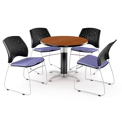 OFM™ 36 Round Multi-Purpose Cherry Table With 4 Chairs, Lavender
