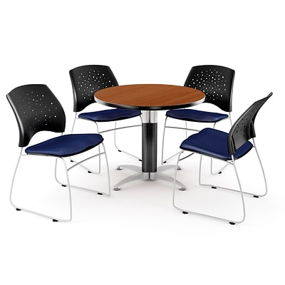 OFM™ 42 Round Multi-Purpose Cherry Table With 4 Chairs, Navy