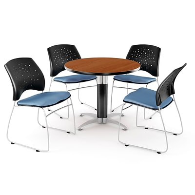 OFM™ 36 Round Multi-Purpose Cherry Table With 4 Chairs, Cornflower Blue