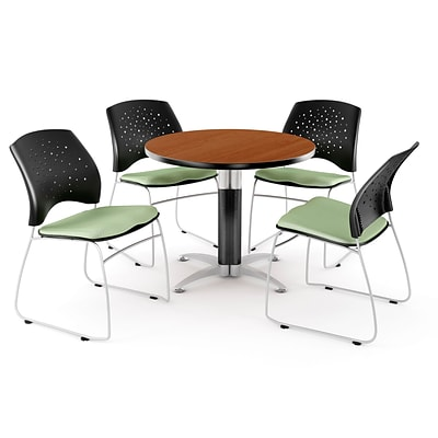 OFM™ 36 Round Multi-Purpose Cherry Table With 4 Chairs, Sage Green