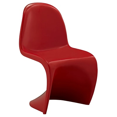 Modway Slither ABS Plastic Kids Chair, Red