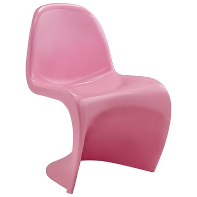 Modway Slither 33H ABS Plastic Dining Side Chair, Pink