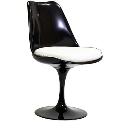 Modway Lippa 32H Padded Fabric Dining Side Chair, Glossy Black/White