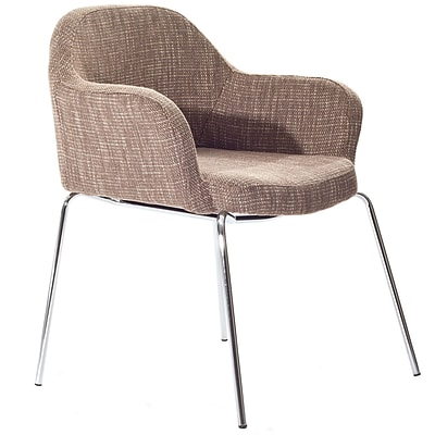 Modway Cordelia 31H Tweed Fabric Compact Dining Armchair, Oatmeal, 2/Set
