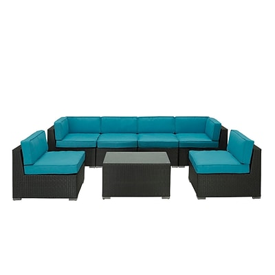 Modway Aero 7 Piece Synthetic Outdoor Wicker Patio Sectional Sofa Set, Espresso/Turquoise