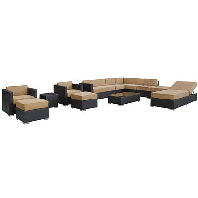 Modway Fusion Synthetic 12 Piece Outdoor Wicker Patio Sectional Sofa Set, Espresso/Mocha
