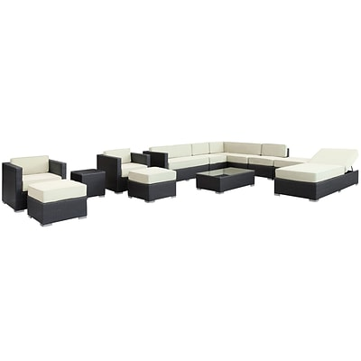 Modway Fusion Synthetic 12 Piece Outdoor Wicker Patio Sectional Sofa Set, Espresso/White