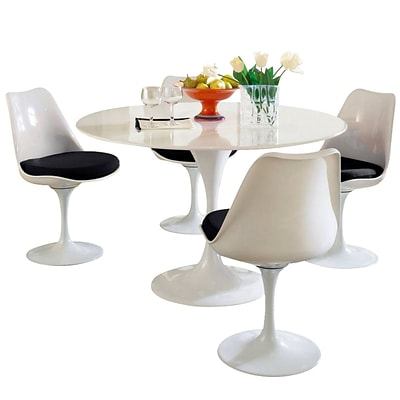 Modway Lippa 5 Piece Fiberglass Dining Set With 4 Side Chairs and One 48 Dining Table; Black