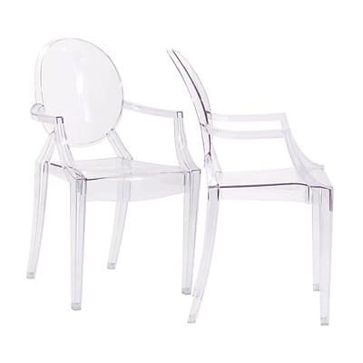 Modway Casper 36H Polycarbonate Dining Armchair, Clear, 2/Set