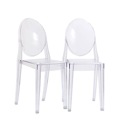 Modway Casper 36H Polycarbonate Dining Side Chair, Clear, 2/Set