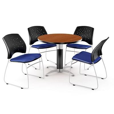 OFM™ 42 Round Multi-Purpose Cherry Table With 4 Chairs, Royal Blue
