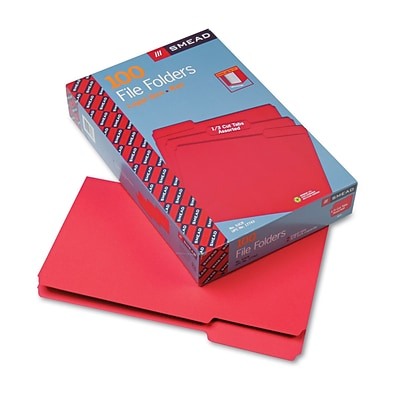 Smead® Legal 1/3 Cut File Folder With 3/4 Expansion; Red, 100/Box