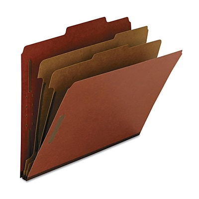 Smead 100% Recycled Pressboard Classification File Folder, 2 Dividers, 2 Expansion, Letter Size, Red, 10 per Box (14024)