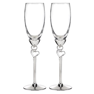 HBH™ Entwined Hearts Flute Glasses, Clear/Silver