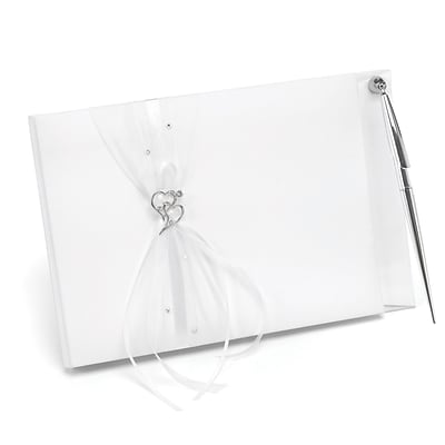 HBH™ Heartfelt Whimsy Guest Book and Pen, White
