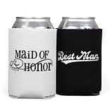 HBH™ 4 1/4(H) Maid of Honor and Best Man Can Cooler Set, Black/White
