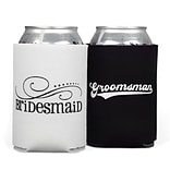 HBH™ 4 1/4(H) Bridesmaid and Groomsman Can Cooler Set, Black/White
