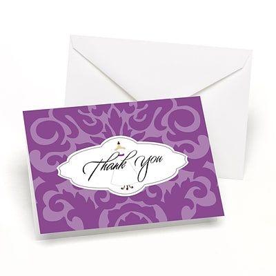 HBH™ Wedding Gown Damask Thank You Cards; White/Purple
