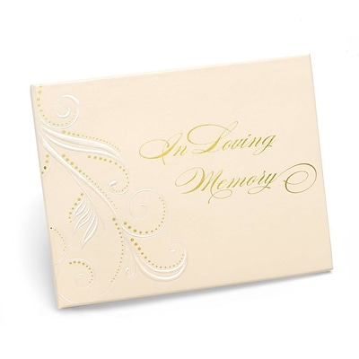 HBH™ In Loving Memory Swirl Dots Guest Book, Ivory